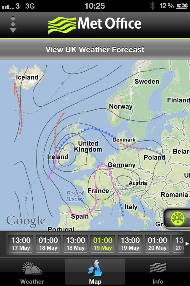 Met Office photo depicting twin low pressure zones locked together over the UK and Europe