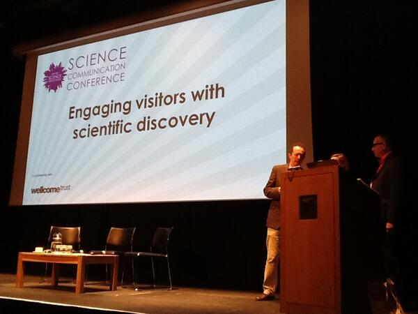 Next session: Engaging visitors through scientific discovery with Jennifer DeWitt @bnglaser & @IanSimmons #SciComm13 pic.twitter.com/lmBQrdKihk