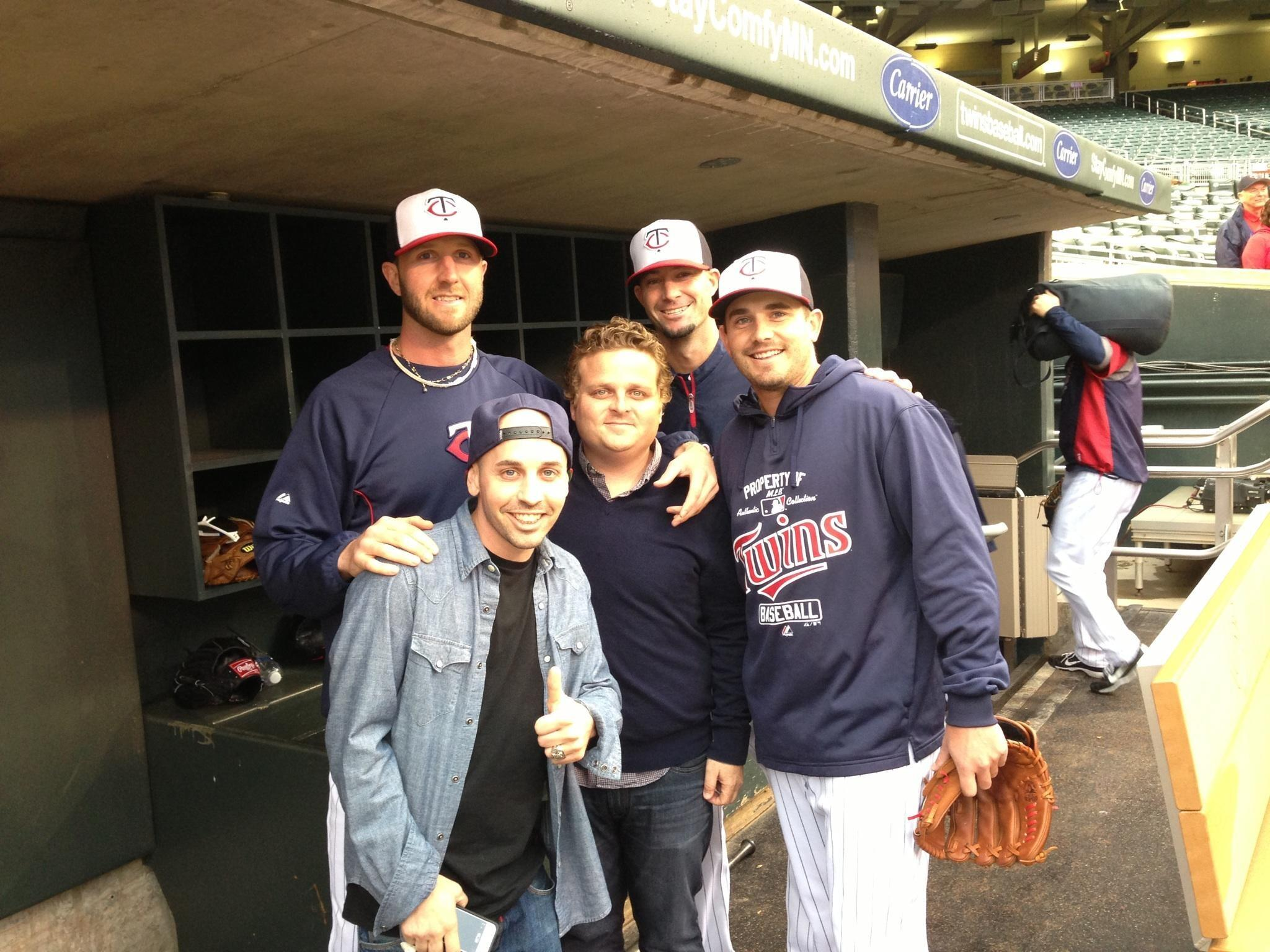 Ham and Squints from The Sandlot, 20 years later, with Twins pitcher Brian Duensing