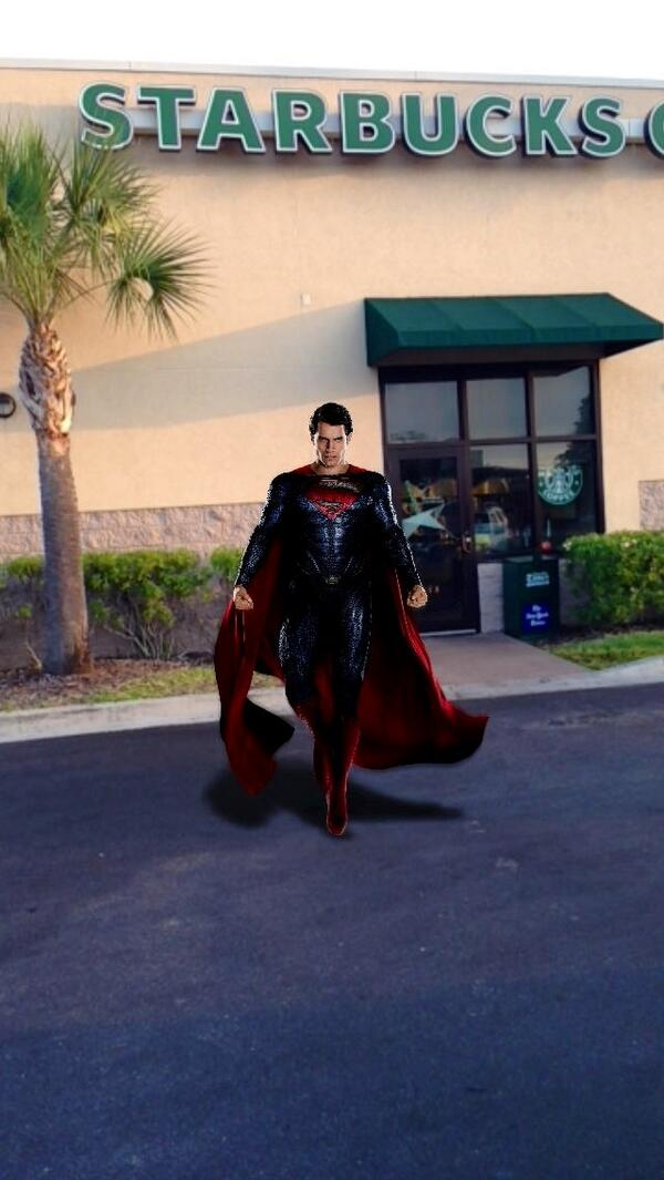 Superman walking out of @Starbucks with me to go get advance tickets to get #ManofSteel #SeeSteelFirst @Walmart