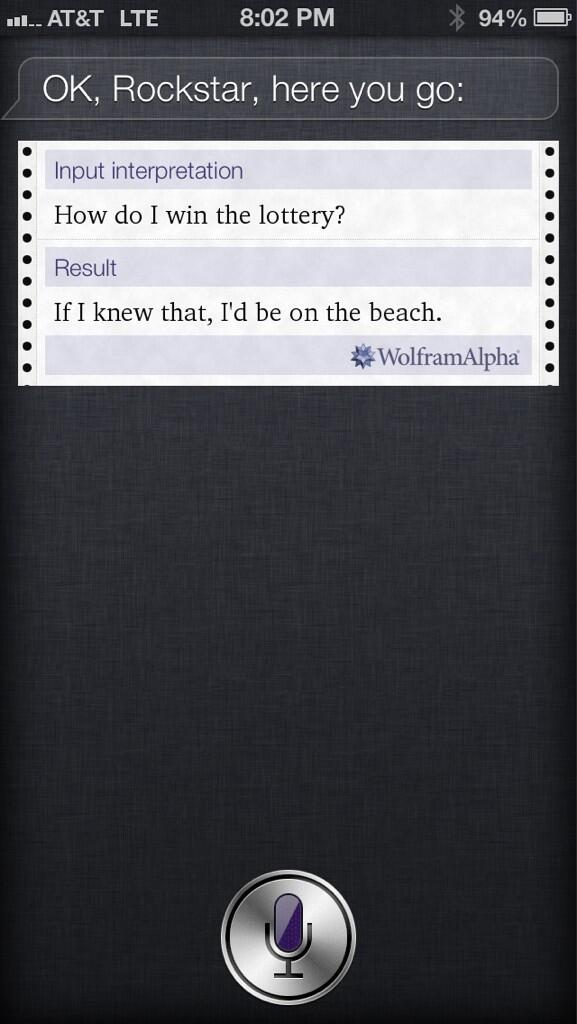 I asked Siri what the #Powerball numbers are. This was her answer (and yes, she calls me Rockstar) http://t.co/ADsHs0lJDE