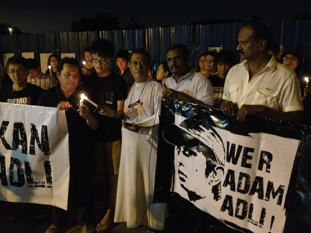 Solidarity vigils for Adam Adli in Jinjang and Penang