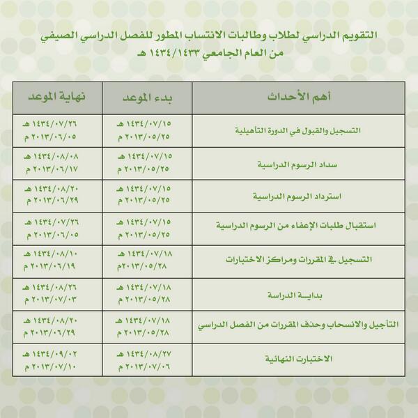 عمادة التعليم عن بعد On Twitter عاجل تم إعلان التقويم الدراسي