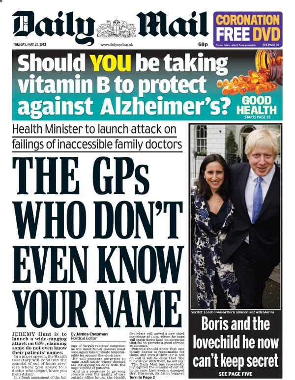 "Nick Sutton on Twitter: ""Daily Mail front page - ""The GPs ..."