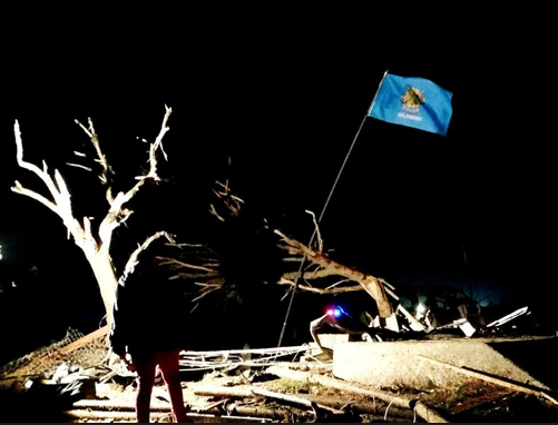 OKLAHOMA SPIRIT: State flag hangs above the rubble near Plaza Towers school in #Moore where kids died @priscillaluong http://pic.twitter.com/3lW87OU1hM