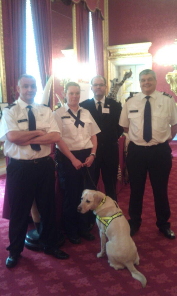 Sniffer dog Tyke - who works to #EndWildlifeCrime - meets Their Royal Highnesses http://pic.twitter.com/5RGackP4YQ