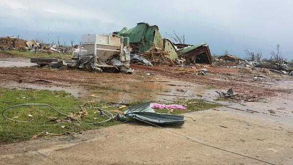 Home blown over in the foreground.  Neighborhood blown away in the background. #Moore http://pic.twitter.com/PL5RWrrR2g