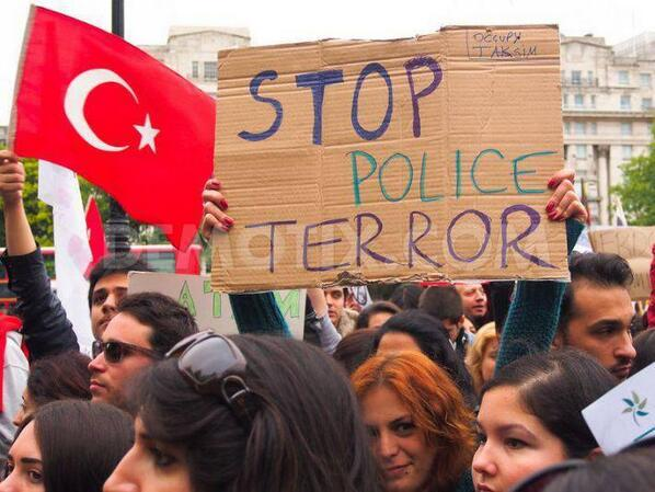 STOP POLICE TERROR #OccupyGezi | pic.twitter.com/SbK4GZw2oI