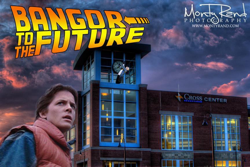 Cross Insurance Center,Bangor,spoof,Back to the Future,clock tower