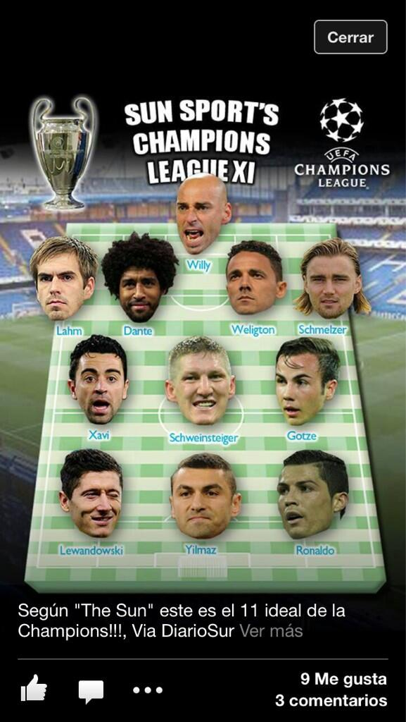 "El ""Once Ideal"" de la Champions League 2013"