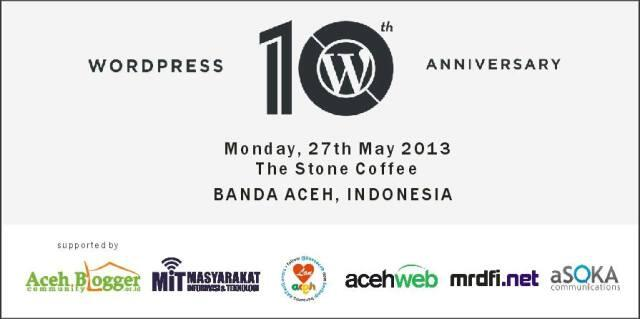 Spanduk acara WordPress 10th Anniversary