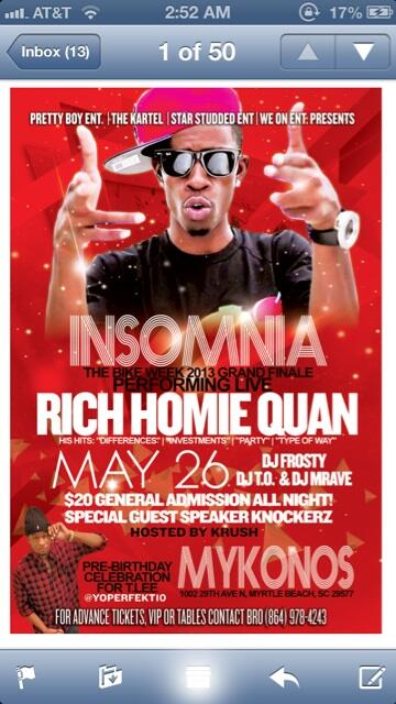 Speaker Knockerz On Twitter Tonight Me N Rich Homie Quan Performin Live In Myrtle Beach At Mykonos Turnup Http T Co Hoa5lkovow