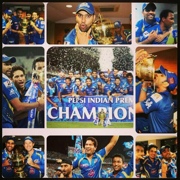 Pictorial highlights of the awesome celebrations from last night.!! Gotta love #MI.!! @ImRo45 @mipaltan http://t.co/bfujJQMJ1X