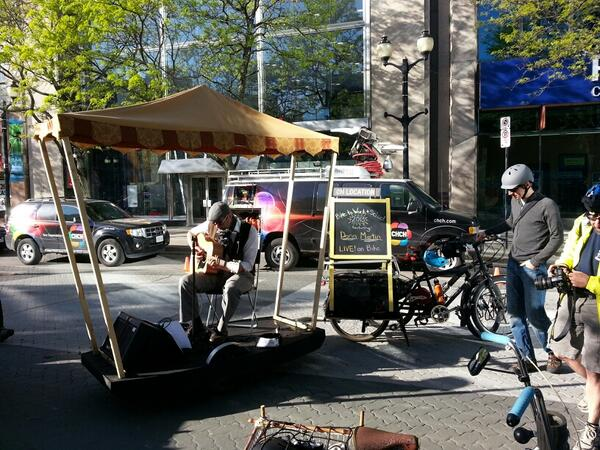 Musician Darin Martin performed live on bike trailer