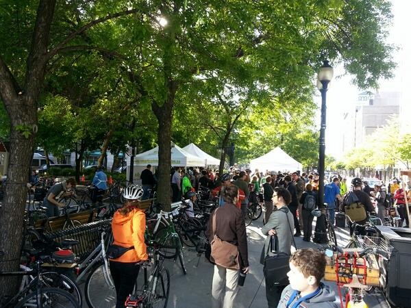Cyclists congregated in Gore Park at 8:00 AM this morning