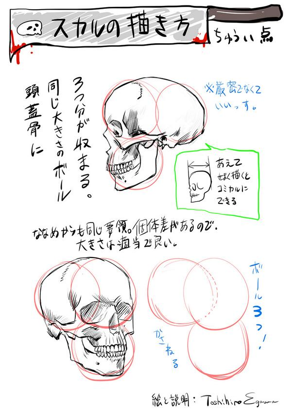 Toshihiro Egawa 江川敏弘 On Twitter スカルの描き方講座スカルを