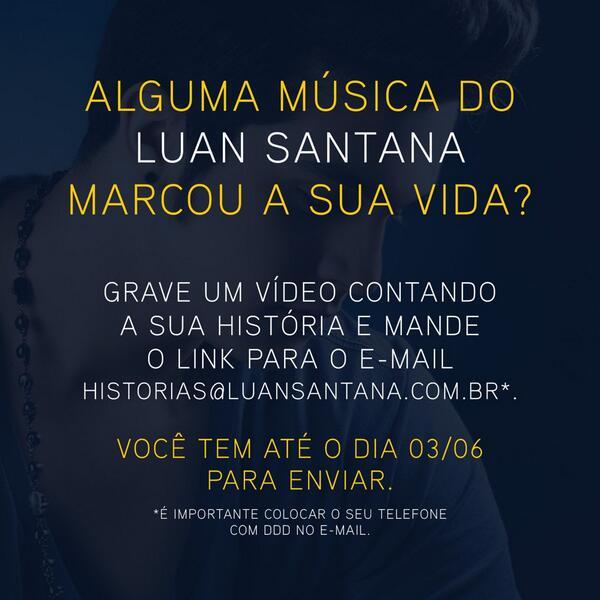 Você tem história com alguma música do Luan Santana? Clique e saiba como contar, queremos ouvir! - Equipe LS http://t.co/ZKuJ8Clgb9