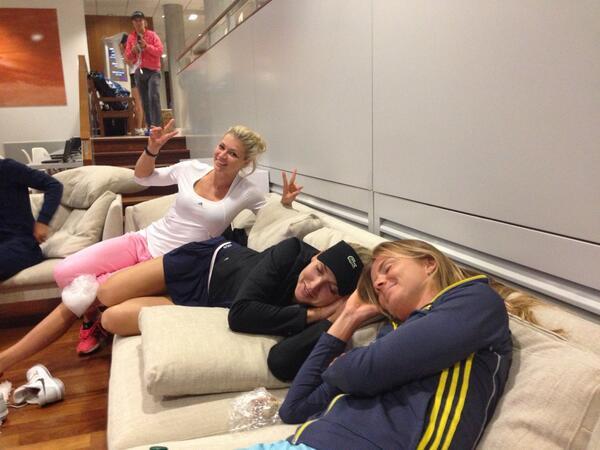 """Elena Vesnina on Twitter: """"Party in the locker room ..."""