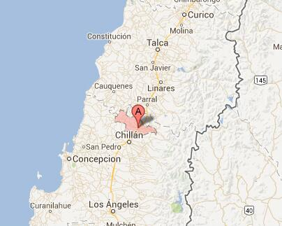 Algunos usuarios preguntan dónde queda San Carlos. Está a aprox. 120 kms. al NE de Concepción. Imagen del mapa: http://pic.twitter.com/3IKuzaRzBL