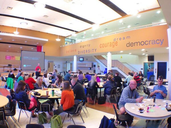 Happy campers start to fill up Randy Bachman Commons at West Kildonan Collegiate. #edcampwpg http://pic.twitter.com/CeKQyKmE9s