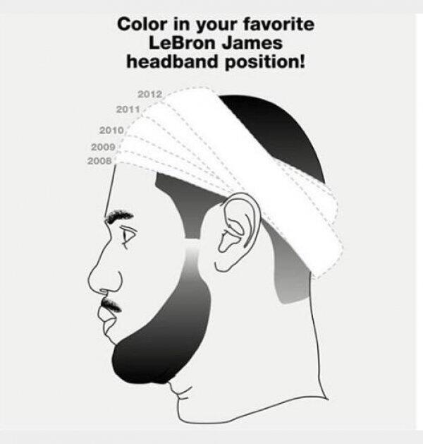 evan spencer on twitter sprtshumor coloring book for lebron james headband position httptcoolfritd5dt bron is my dude but this is funny lol