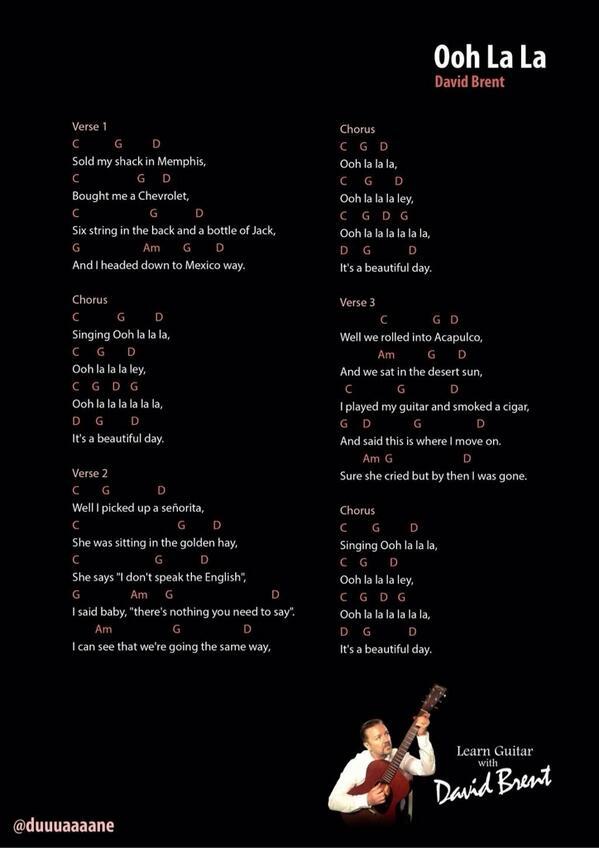 David Brent On Twitter The Chords And Lyrics To Ooh La La Thanks