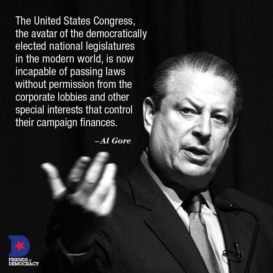 Al Gore on the impact on lobbies and special interests on the legislative process. https://t.co/fFL11aJnKe