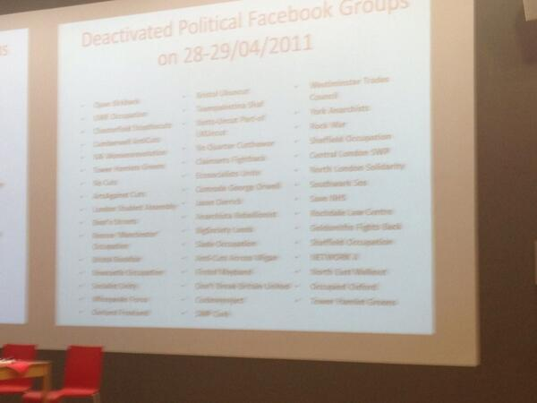 Bart Cammaerts lists the political Facebook groups taken down in the run up to the Royal wedding #lsemc10 pic.twitter.com/57GC29SMAD