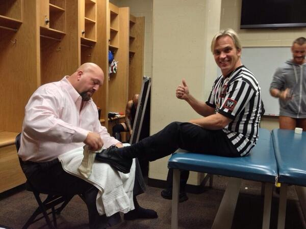 photo cm punk backstage at payback w big show