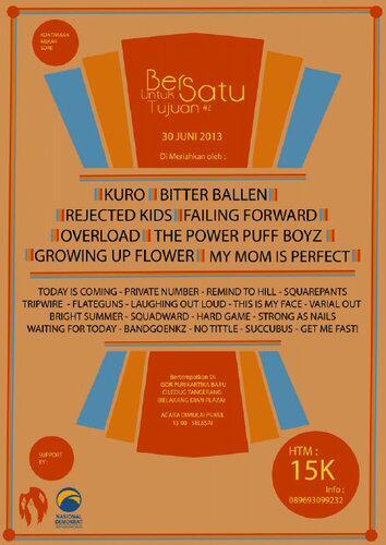 Today! Bersatu Untuk Satu Tujuan #2 w/ @kurockers @failfor @rejectedkids @overloadcore @pnprivatenumber Info: http://t.co/qMjOXMnYLr
