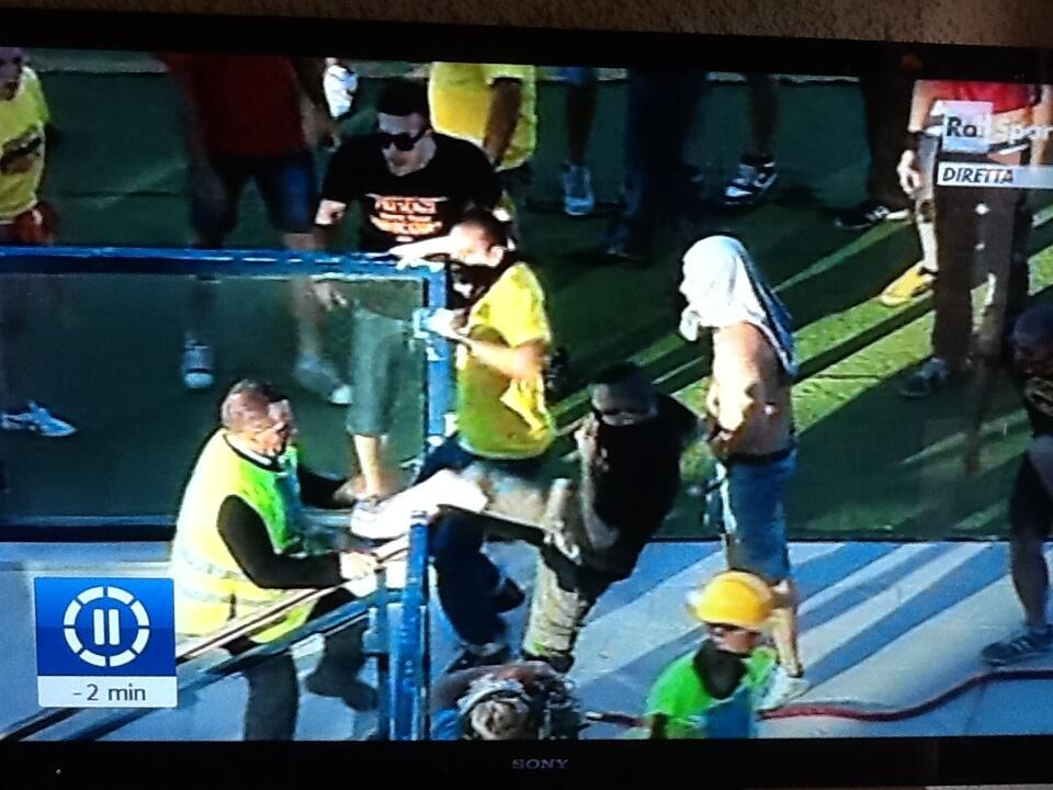 Wild Lecce fans go on the rampage after their team fail to win promotion to Serie B, attack stewards
