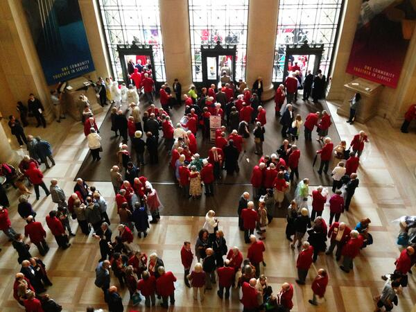 A grand lobby full of gentlemen (and a lady or two) in red coats. Why? It's commencement day at #MIT2013 : pic.twitter.com/UvbAjzruag
