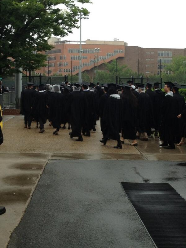 A wet student procession on its way to Killian Court #MIT2013 pic.twitter.com/Bm7BopBr0d