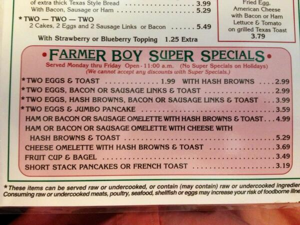 Prices like these Farmer Boy Super Specials are one more reason I love coming back to #Wooster #WoosterAW pic.twitter.com/npirGteZw6
