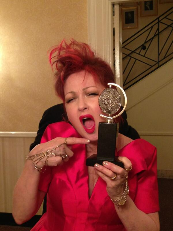 Cyndi Lauper wins a Tony Award for Kiny Boots