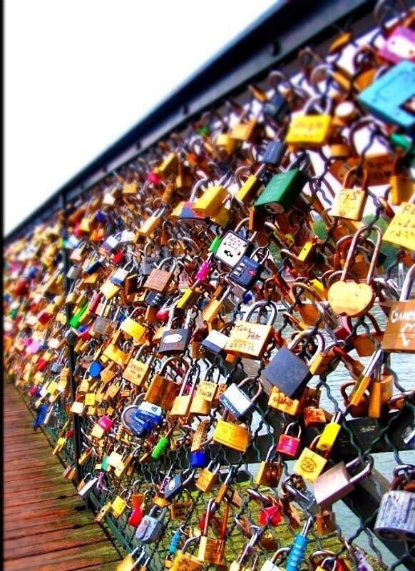 Wall of locks paris france
