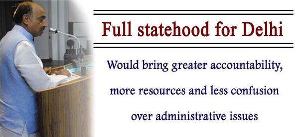 """The political resolution accepted by the BJP national executive includes the support for """"full statehood for Delhi"""""""
