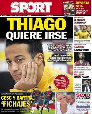 Thiago Alcântara to leave Barca to ensure WC 2014 dream, Man United & Bayern lead race [Sport]