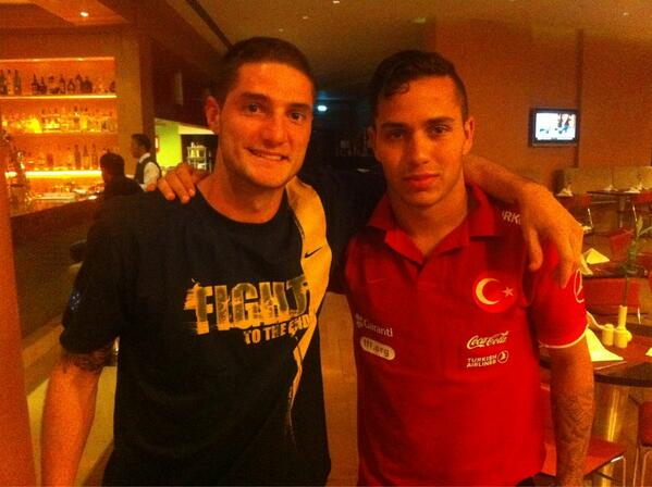 teammates from @fulhamfc , @coreygameiro and @kerimfrei21 meet at Trabzon, Turkey for @U20DK2013 pic.twitter.com/P6PcSoZM4o