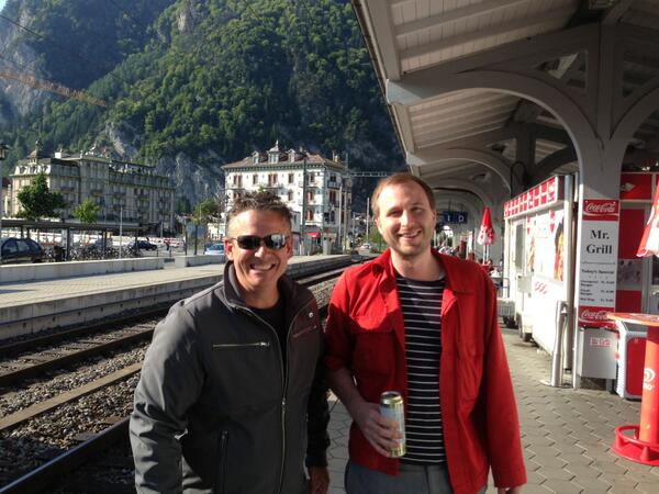 """All smiles for the pic but 2 hours before, Joe thought Interlaken was Schweizerdeutsch for """"hell"""". http://t.co/WIaFTR47AU"""