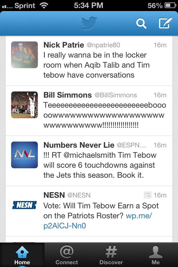 Tebow mania sweeping pats nation pic.twitter.com/a4c29XYO6q