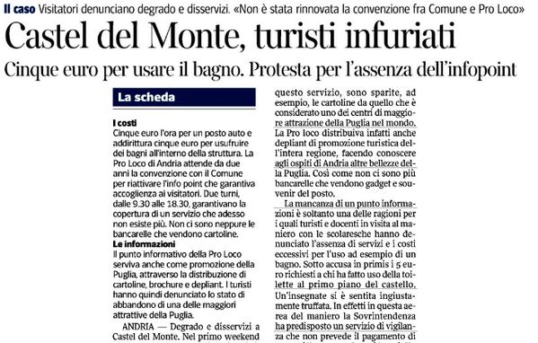Castel del Monte, turisti infuriati. 5€ per usare il bagno, e manca l'Infopoint http://pic.twitter.com/0Wdtq40MbD