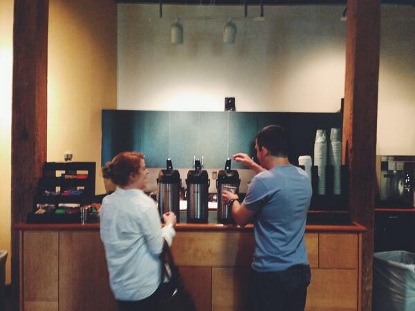 Key innovation at @NESCent: coffee bar. Off to a good start at #indoorevol pic.twitter.com/xkcSX6aBGu