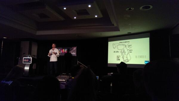 @mickteg showing the first version of the Eyewriter! So simple yet powerful! #nxnei13 @nxnei @nxne #ChowTO http://pic.twitter.com/ZkRW67Df4Z