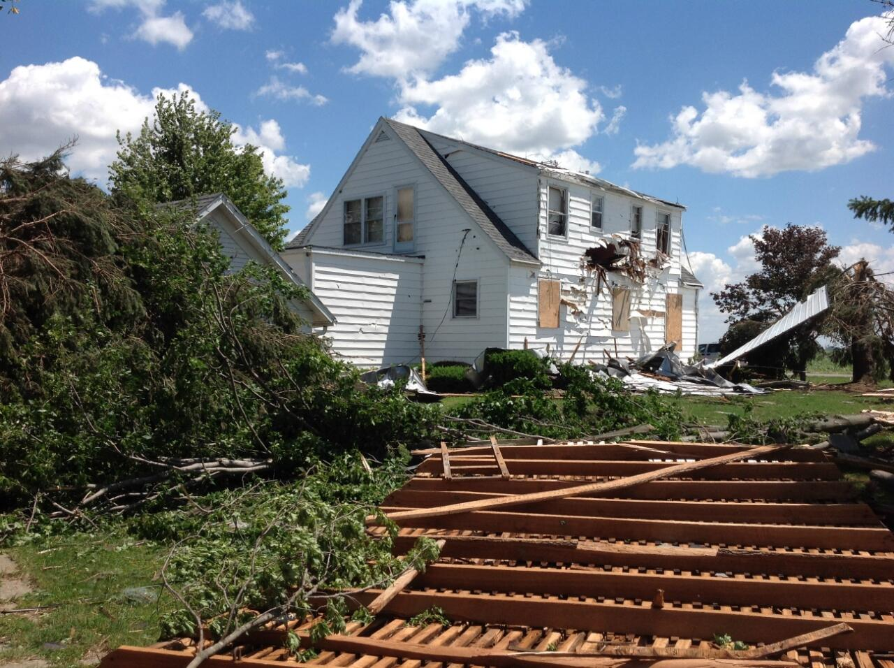 NWS photo of tornado damage in Henry County, Ohio