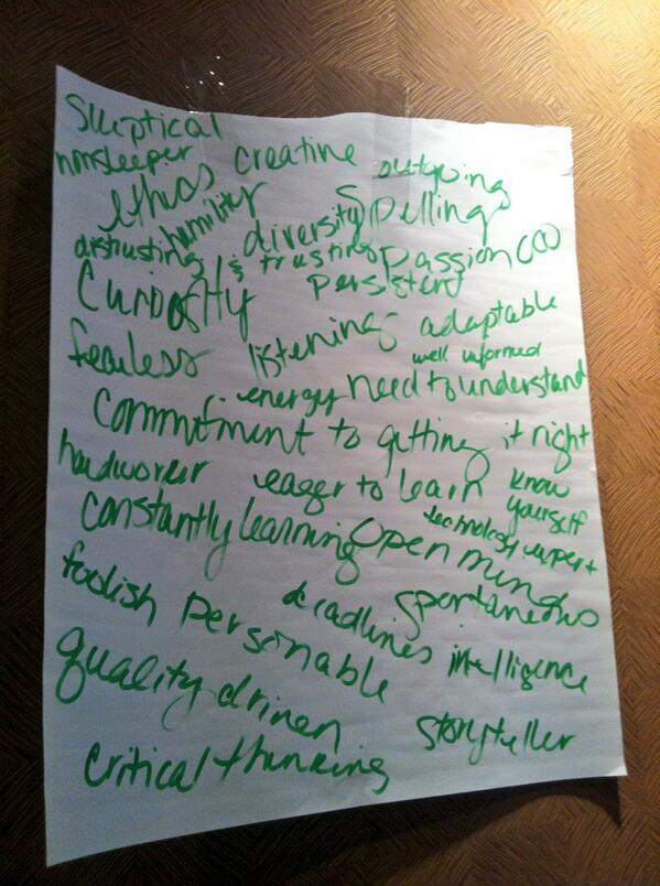 Qualities of a journalist, created by #SPJScripps participants. pic.twitter.com/Ax3ZmVRvl1