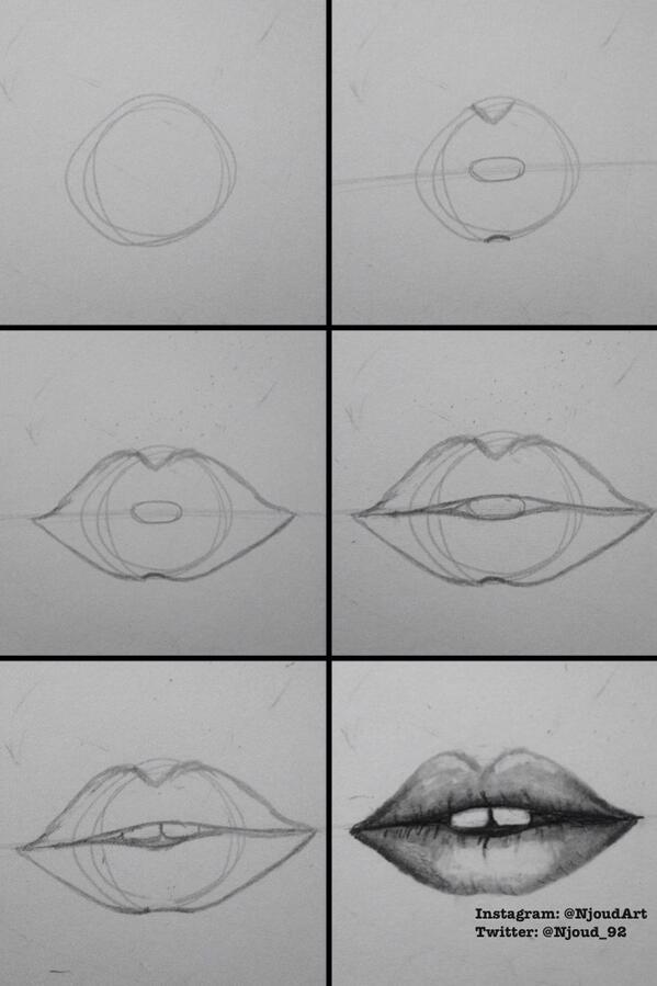 Njoud Auf Twitter خطوات رسم الفم سلسلة تعلم الرسم انا رسام