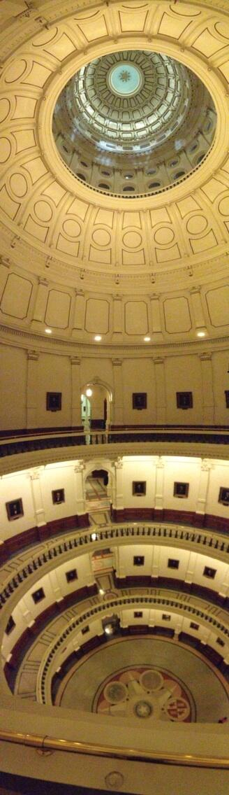 Joe Deshotel  - Panorama of empty rotunda at Texas Capitol - dome to floor. Posted on Twitter June 27, 2013