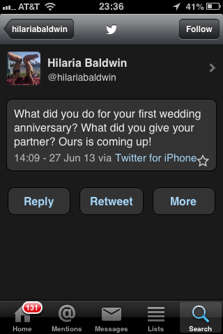 Anniversary tweet that @dailymailuk says was tweeted at 1109am? @Hilariabaldwin tweeted it at 209pm NYC time pic.twitter.com/ghgMntY4kq
