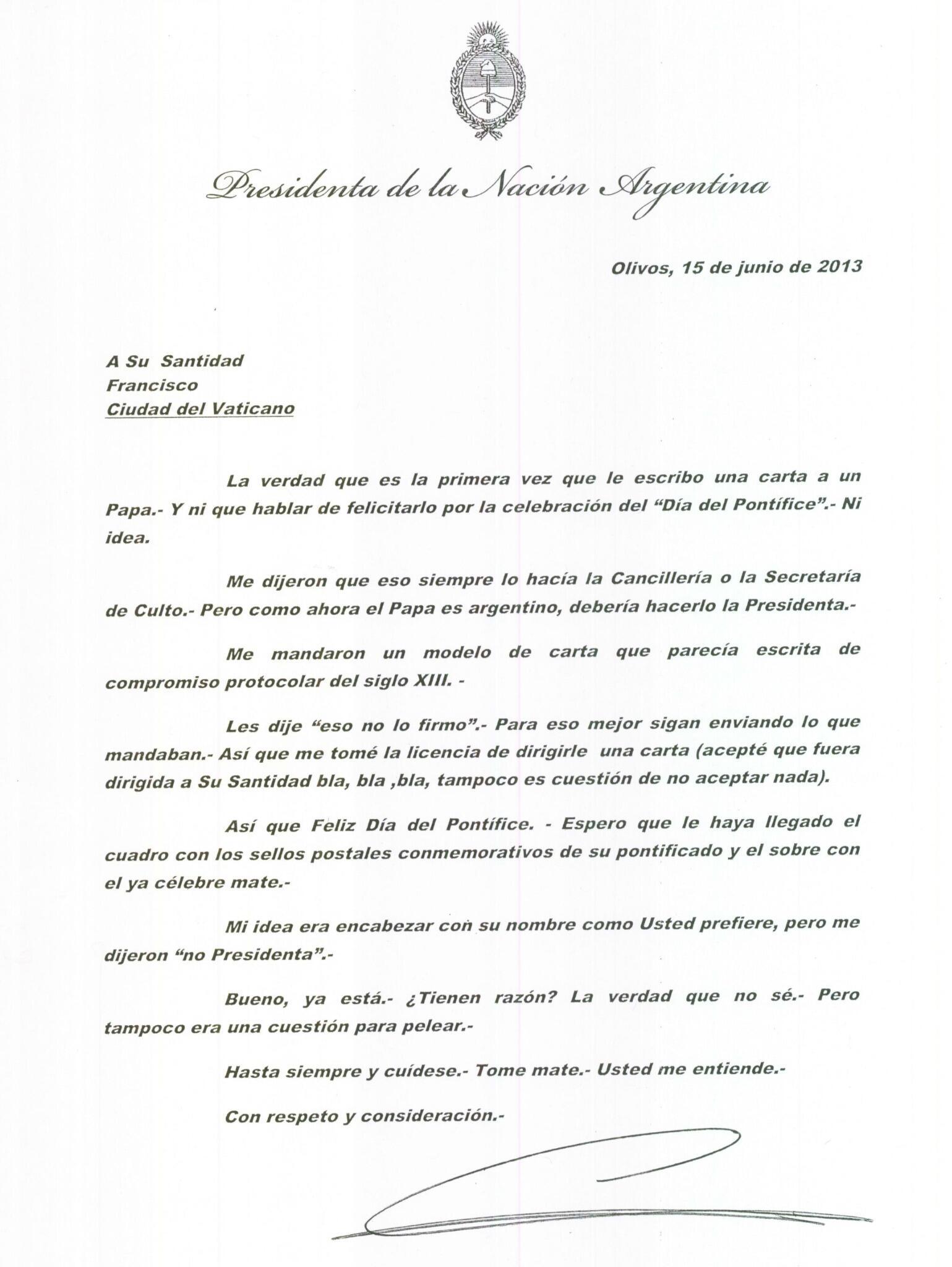 salvadorschwartzmann on twitter   u0026quot presidenta de argentina manda carta de saludo al papa  u0026quot en dia